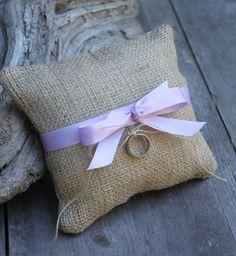 Image of Dolled-Up Burlap Ring Bearer Pillow - Custom Ribbon Color