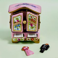 Limoges pink armoire with clothes box