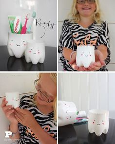 DIY – plastic bottles for toothbrushes- Tooth fairy Jars! Kids Crafts, Diy And Crafts, Arts And Crafts, Diy Projects To Try, Craft Projects, Fairy Jars, Tooth Fairy, Bottle Crafts, Diy For Kids