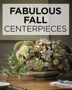 As fall approaches and the weather starts to cool, entertaining makes its move indoors. Elevate your next occasion with a centerpiece inspired by the harvest season.     For a low profile that encourages dinner conversation, set a block of floral foam into a shallow pewter dish and created a dome of sedum flowers, filling in the spaces with purple Queen Anne's lace, mauve hydrangeas, round star scabiosa, fuzzy foxtail grass, and spiked sea holly.