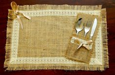 Simple, rustic and elegant! This table setting contains burlap placemat with silverware pocket. This adorable set made of natural burlap, and I
