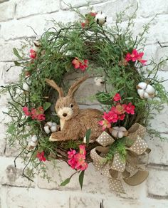 Spring Wreath, Bunny Wreath, Easter Wreath, Cotton Wreath, Font Door Wreath, Silk Floral Wreath, Grapevine Wreath, Rabbit, Etsy Wreath -  This beautiful bunny wreath was handmade using a grapevine wreath base adorned with lovely pink flowers, cotton bolls, vines of greenery, a polka dot burlap bow, and an adorable sisal bunny. This is such a wonderful wreath that can be displayed on your wall, mantel, or front door. Perfect for Spring, Easter, and Summer!  • Already made and ready to ship! •…