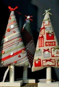 Árbol de Navidad: Fotos de diseños de patchwork - Árbol de Navidad de patchwork y botones en color gris