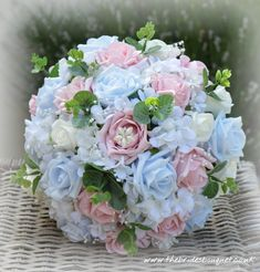 Bridal posy of baby blue and vintage pink roses with faux hydrangea and rosebuds for bride to be Hayleys 2018 wedding, a bespoke bouquet of artificial flowers will be a lasting memento of your wedding day