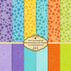 Dots Scrapbook Digital Paper pack Monster by TracyAnnDigitalArt, $4.95