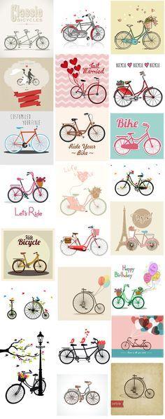 25개 자전거 일러스트 디자인소스