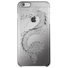 Vintage Dragon Brushed Metal Look Uncommon Clearly™ Deflector iPhone 6 Plus Case