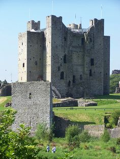 Trim Castle, Co. Meath, Ireland - the ruins are all that remains of Ireland's largest Anglo-Norman castle. Construction on the castle started in 1175 by by Hugh de Lacy and his son Walter during the Norman Invasion of Ireland.  The castle was used in the movie Braveheart.