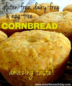 Each week I get hundreds of visitors for this simple, fool-proof recipe for Gluten-Free, Dairy-free, Egg-free Cornbread. I'm so glad you're here, and hope you love the cornbread! Looking for (Vegan Gluten Free Casserole) Sem Gluten Sem Lactose, Sans Lactose, Lactose Free, Gluten Dairy Free, Chili Recipe Gluten Free, Gluten Free Corn Muffins Recipe, Gluten Free Biscuits, Paleo Dairy, Egg Free Recipes