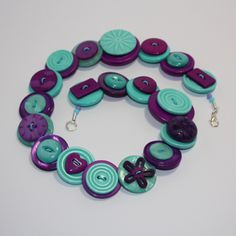 Purple and Aqua Button Necklace