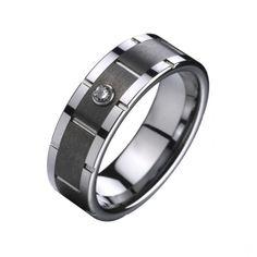 9mm Noir Centre de mariage de tungstène anneau incrusté Zircon