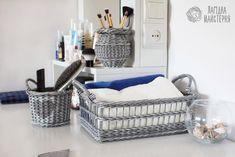 Набор: короб, ушат и ваза (плетение из бумажной лозы, газет, бумажных трубочек, basket weaving, paper, grey, патина, сердце, heart)