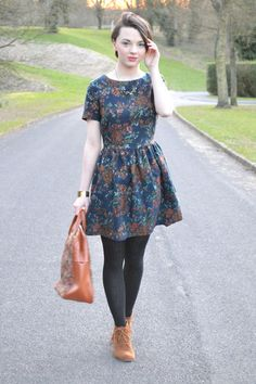 Tawny-tan-boots-matalan-boots-teal-floral-tapestry-river-island-dress