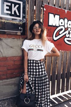 Gucci top and gingham skirt › thefashionfraction.com