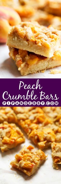 Peach Crumble Bars | Better than peach pie and without all the hassle! This is a great dessert for summer parties!