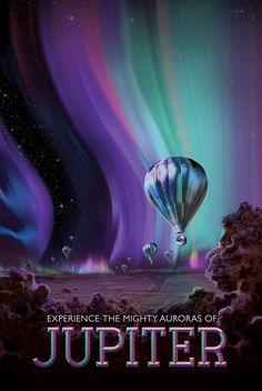 Les aurores boréales tiennent difficilement la comparaison. Les levers de Soleil sont beaucoup plus intenses sur Jupiter, formant un cercle lumineux autour de chaque pôle de la planète.