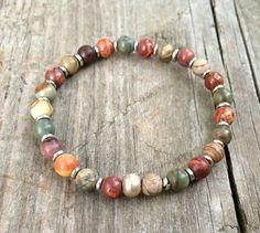 Colorful boho bracelet with silver accents, boho jewelry, stretch bracelet