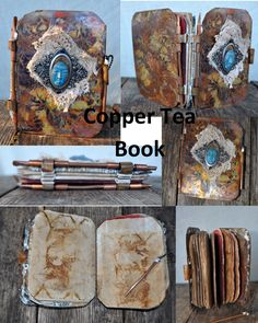 Etched, heat treated, patina created with balsamic vinegar, piano-hinged copper book with tea-paper pages, polymer clay, tea-stained lace and scrim, solder and lots of fun creating it.