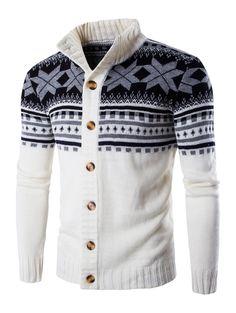 Geometric Design Long Sleeve Sweater Coat