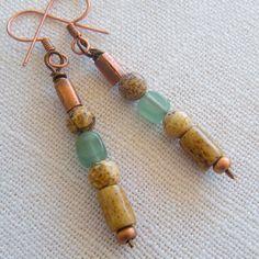 Minimalist Earrings Copper Picture Jasper by StoneBoneAndButton