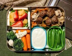 Tomorrow's bento lunch.  Little meatballs with stir-fried lo mein noodles,  snap peas, ranch dressing, strawberries and cantaloupe, veggies and havarti cheese. #bentobox #lunchbots #lunchtime #bento #leftovers