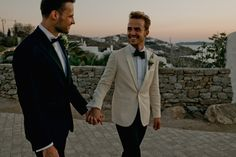 Two handsome grooms travel along with their closest friends and family all the way to their favorite holiday destination in Mykonos to exchange vows under the Aegean sky Play Hard To Get, Moving In Together, Make You Believe, First Dates, White Ribbon, Mykonos, Vows, Groom, Handsome