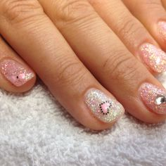 en Vogue gel nails by me Full glitter with cute decals for valentines day