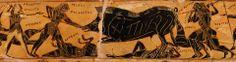 La caccia eroica al cinghiale Calidonio, dal fregio superiore del labbro del Vaso François. Tra i protagonisti si individuano Meleagro e Atalanta, indicati dalle rispettive didascalie...