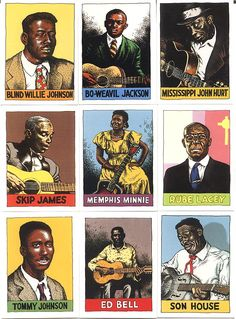 Robert Crumb's Legends of the blues trading cards. via Au Pays Du Blues