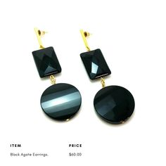 Black Agate Natural Stone Earrings. Make a Statement! Joana Czellnik for JOOL