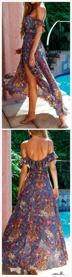 Women's Bohemian V Neck Ruffle High Slit Irregular Maxi Dress