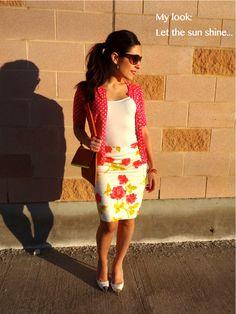 Floral skirt and polka dot cardigan - #MyFashAvenue