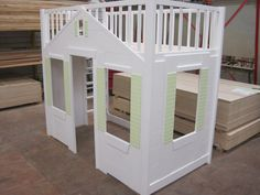 Loft Bed with Playhouse Underneath Playhouse Loft Bed, Toddler Playhouse, Kids Indoor Playhouse, Build A Playhouse, Toddler Bed, Kids Bed Tent, Kids Bedroom, Bedroom Decor, Bed Furniture