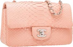 """Luxury Accessories:Bags, Chanel Pink Python Mini Flap Bag with Silver Hardware. GoodCondition. 8"""" Width x 5"""" Height x 2"""" Depth. ..."""