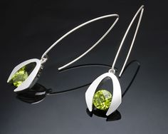 Argentium silver and peridot earrings designed by David Worcester for VerbenaPlaceJewelry.Etsy.com