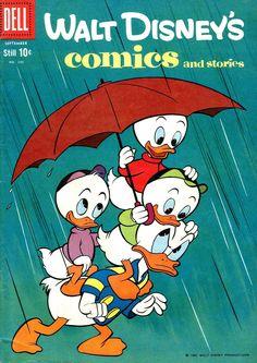 Rain. Donald Duck and his nephews comic book