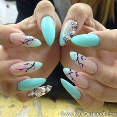 Lotus Blossom Acrylic Nail Design