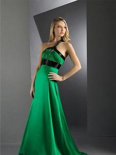 Green One Shoulder Pleated Evening Dress by Dressloving