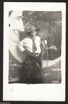 SEXY COWBOY COSTUME MAN w LASSO & CHAPS & PAPER MOON! 1910s VINTAGE PHOTO! collectionKCW