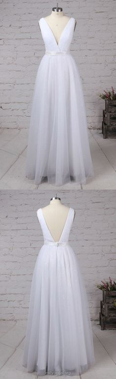 White Prom Dresses,Long Prom Dresses,2018 Prom Dresses For Teens,A-line Prom Dresses V-neck, Tulle Prom Dresses Sashes / Ribbons #whitedresses