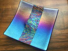 Fused Glass Plate Rainbow Iridescent Art Glass by AngelasArtGlass