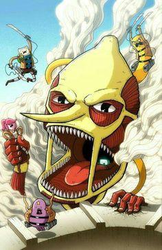 xD lol Attack on Titans and Adventure Time Adventure Time Crossover, Adventure Time Anime, Adventure Time Princesses, Cartoon Network, Time Cartoon, Cartoon Art, Fan Art, Abenteuerzeit Mit Finn Und Jake, Finn Jake