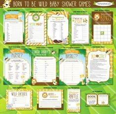Safari Baby Shower Games. Born to be Wild Jungle Theme. Gender Neutral Printables. Listing is for ONE printable game. You Choose. You may select the game of your choice from the dropdown menu. Description and sizes of games are below. Coordinating invite and decorations available in our shop. Click here: Invitation: https://www.etsy.com/listing/166658967/safari-baby-shower-invitation-printable Games: Decorations: https://www.etsy.com/listing/186331...