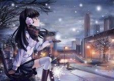 manga anime wallpaper, brunette, girl, bench, christmas day