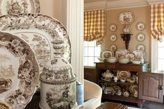 """Brown and White English Transferware as seen in """"Holiday Cottage"""" 2013, The Cottage Journal Magazine."""