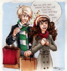 "Draco and Hermione at christmas by CaptBexx on deviantART<<< Someone commented that he's got no idea what to get her for Christmas and Pansy said ""Get her clothes or something she needs"" so he's going to set her hat on fire then replace the one that mysteriously combusted. Hermione will think he's so thoughtful. :3"