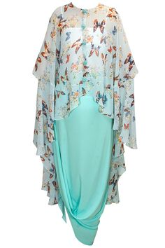 Aqua papillion printed high low cape with cowl skirt available only at Pernia's Pop-Up Shop.