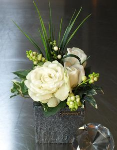 Roses and Berries in Black Glass Cube | RTfact | Artificial Silk Flowers