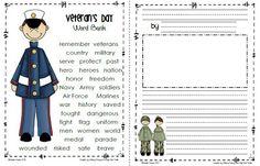 Veteran's Day Word Bank & Writing Paper from Sailing Through Grade Too Cool For School, School Fun, School Ideas, Middle School, High School, School Stuff, Veterans Day Activities, Classroom Activities, Holiday Activities