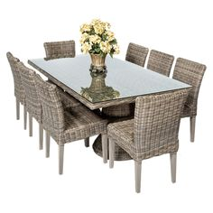 Outdoor TK Classics Cape Cod Wicker Rectangular Patio Dining Set with 16 Cushion Covers - CAPECOD-RECTANGLE-KIT-8